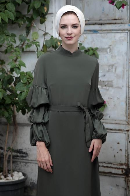 Kolları Büzgülü Elbise - Haki - Selma Sarı