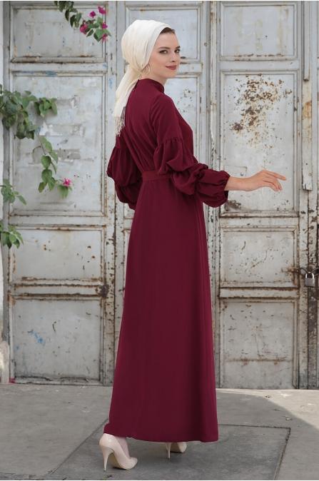 Kolları Büzgülü Elbise - Mürdüm - Selma Sarı