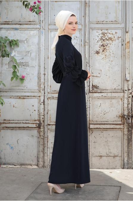 Kolları Büzgülü Elbise -  lacivert - Selma Sarı