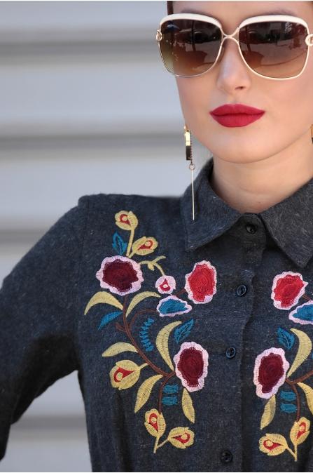Selma Sarı - Nakışlı Elbise - Antrasit