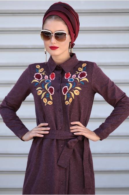 Selma Sarı - Nakışlı Elbise - Bordo