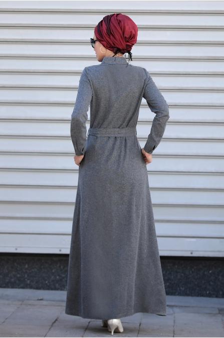 Selma Sarı - Nakışlı Elbise - Füme