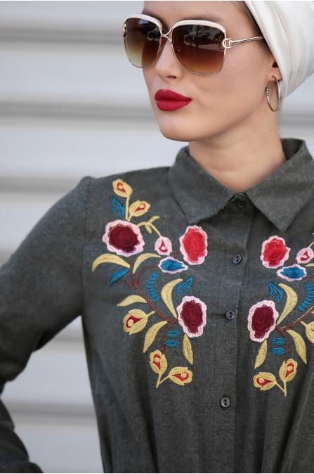 Selma Sarı - Nakışlı Elbise - Haki