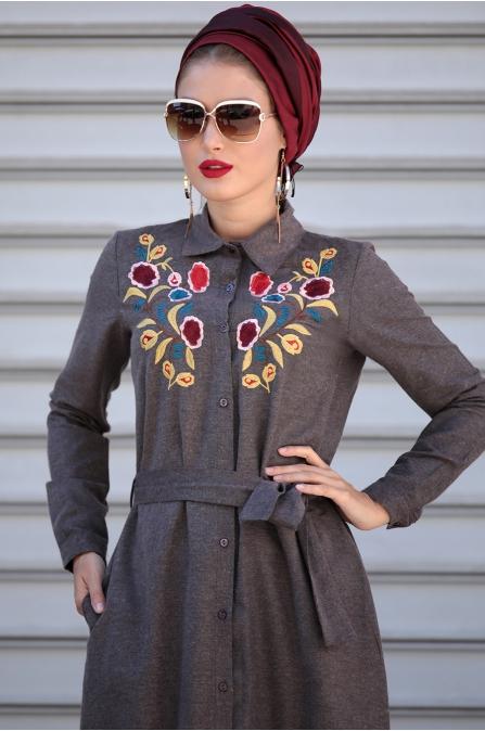 Selma Sarı - Nakışlı Elbise - Kahverengi