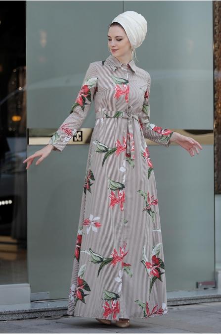 Yaprak Elbise - Kahverengi - Selma Sarı