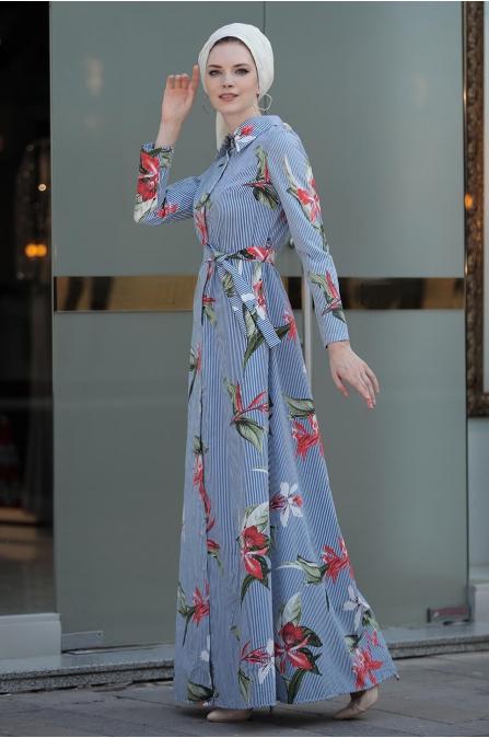Yaprak Elbise - Mavi - Selma Sarı