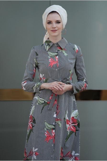 Yaprak Elbise - Siyah - Selma Sarı