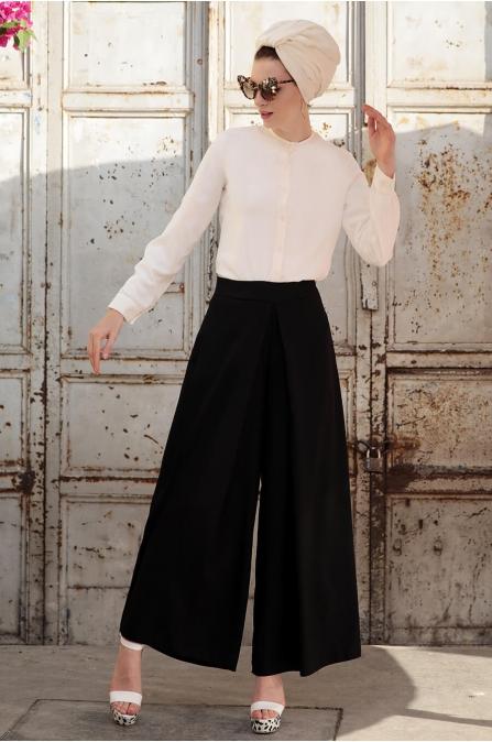 Bol Paça Pantolon Siyah - Selma Sarı