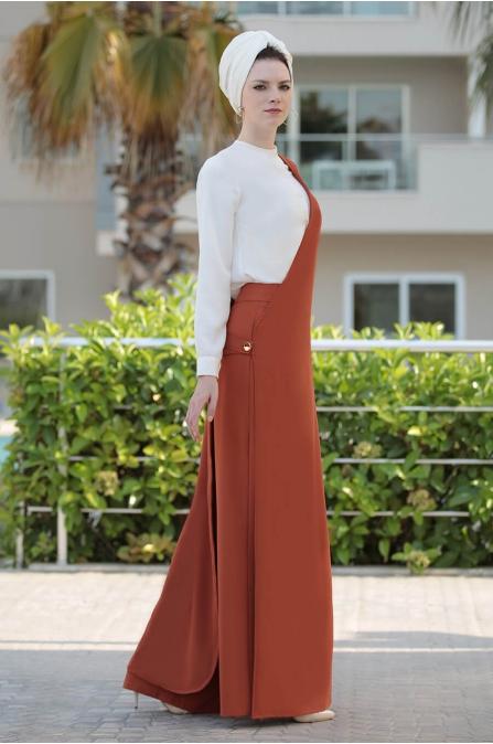 Pantolon Yelek Takım Kiremit - Selma Sarı