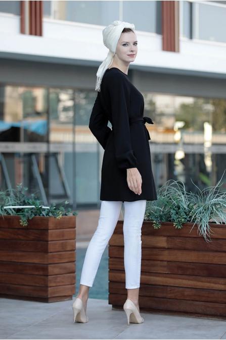 Basic Rahat Tunik - Siyah - Selma Sarı