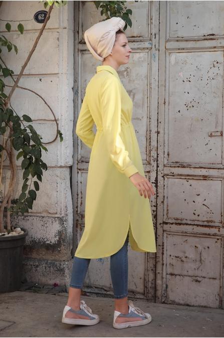 Beli Bağcıklı Uzun Tesettür Tunik - Sarı