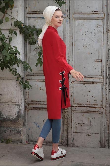 Coton Tunik - Kırmızı - Selma Sarı