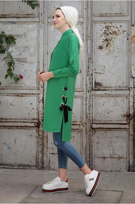 Coton Tunik - Yeşil - Selma Sarı