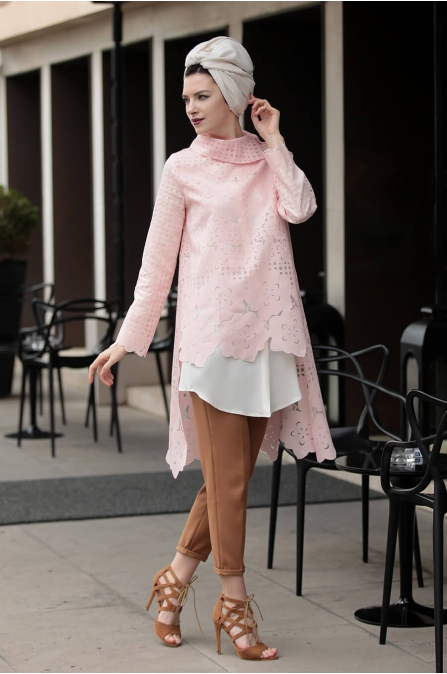 Favori ikili Tunik Takım Pudra - Selma Sarı