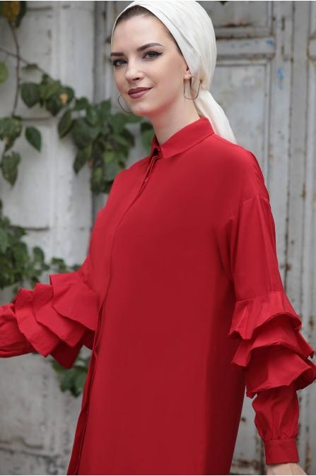 Kollari Fırfırlı Tunik - Kırmızı - Selma Sarı