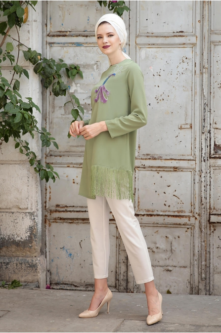 Peahen Tunik - Yeşil - Selma Sarı