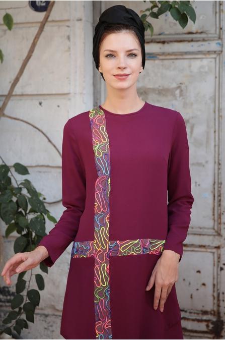 Renk Şeritli Tunik - Mürdüm - Selma Sarı