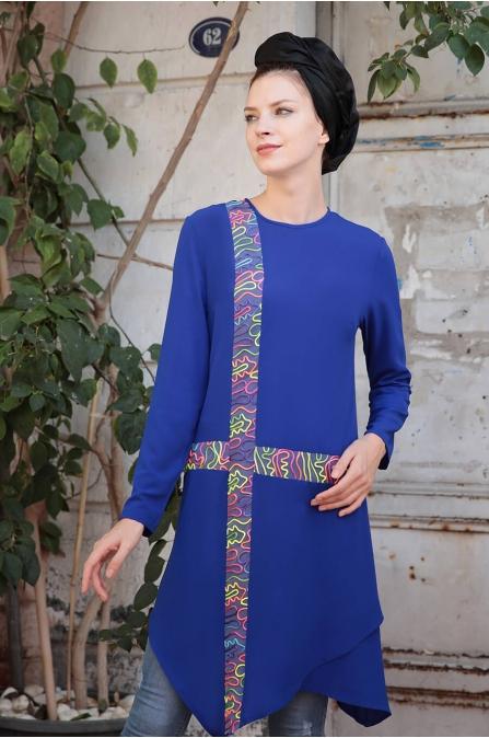 Renk Şeritli Tunik - Saks - Selma Sarı