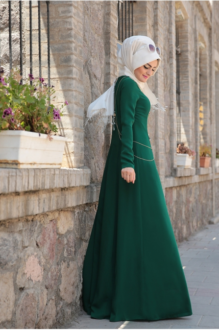 Zincirli Zümrüt Elbise - Sema Şimşek