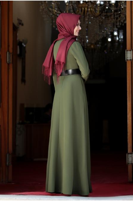 Ada İncili Kemerli Tesettür Elbise - Haki