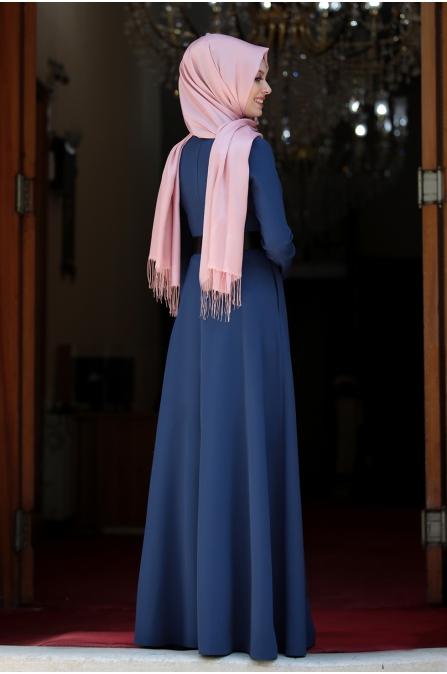 Ada İncili Kemerli Tesettür Elbise - İndigo
