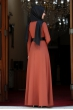 Ada İncili Kemerli Tesettür Elbise - Kiremit
