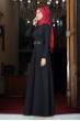 Ada İncili Kemerli Tesettür Elbise - Siyah