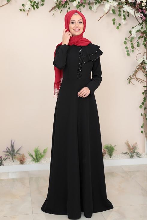 Bade Tesettür Elbise - Siyah