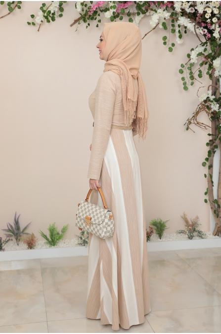 Ebru Kemerli Tesettür Elbise  - Bej