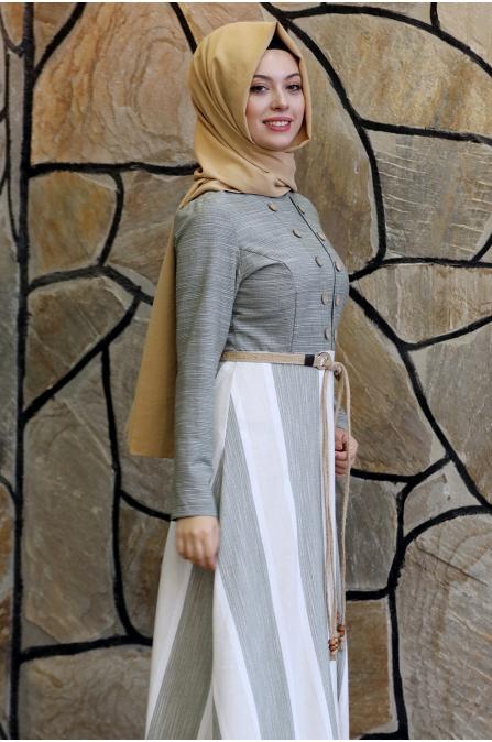 Ebru Kemerli Tesettür Elbise  - Haki
