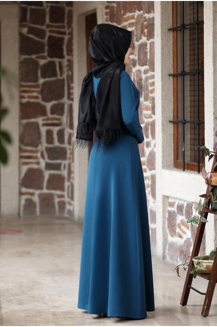 Eylül Tesettür Elbise - İndigo