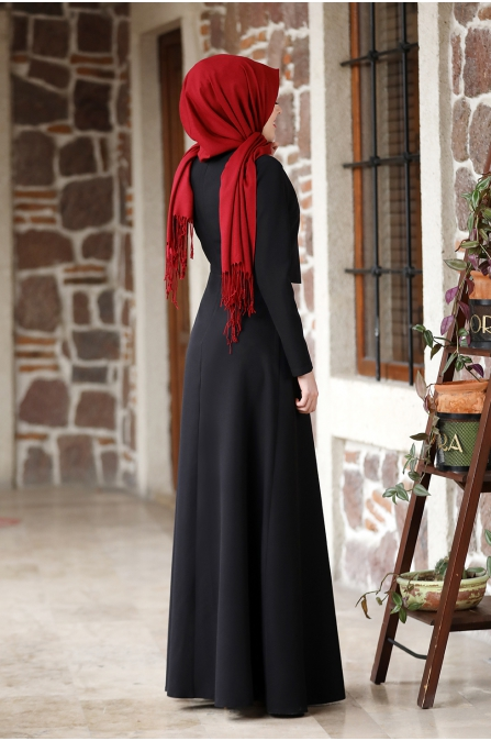 Eylül Tesettür Elbise - Siyah