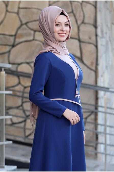 Firuze Tesettür Elbise  - İndigo