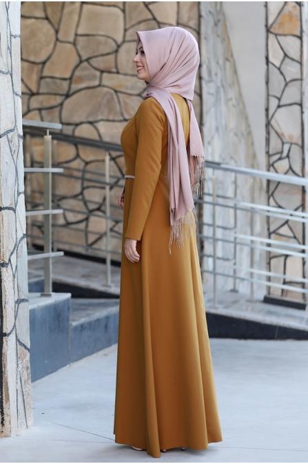 Firuze Tesettür Elbise  - Taba