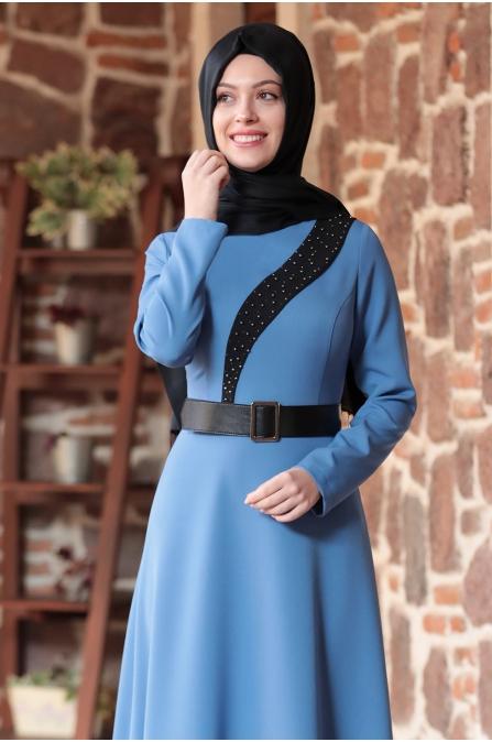 Nare Kemerli İncili Tesettür Elbise - Buz Mavisi