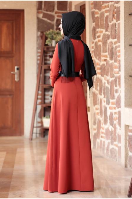 Nare Kemerli İncili Tesettür Elbise - Kiremit