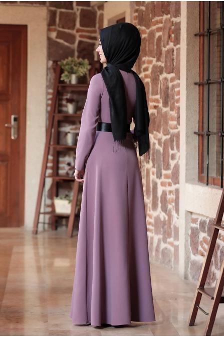 Nare Kemerli İncili Tesettür Elbise - Lila