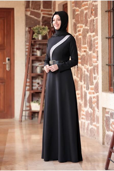 Nare Kemerli İncili Tesettür Elbise - Siyah