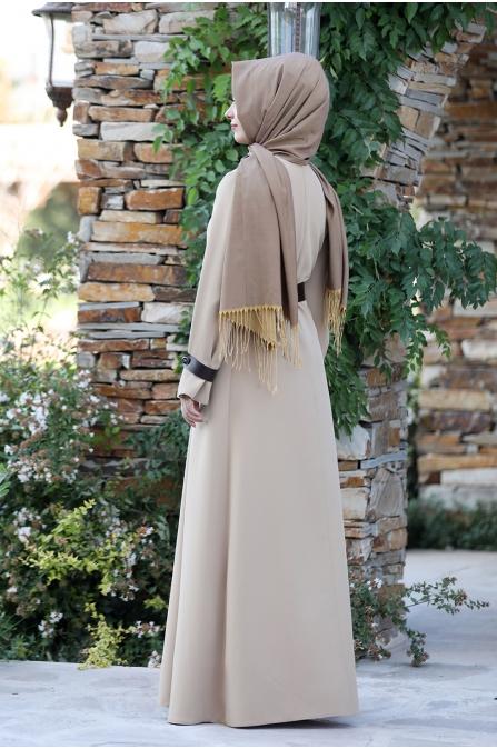 Naz Tesettür Elbise  - Bej