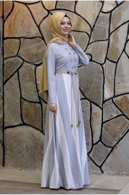 Ebru Kemerli Tesettür Elbise  - Gri