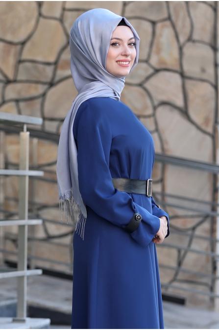 Naz Tesettür Elbise  - İndigo