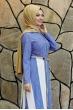 Ebru Kemerli Tesettür Elbise  - Mavi