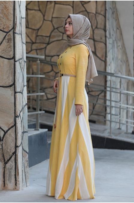 Ebru Kemerli Tesettür Elbise  - Sarı