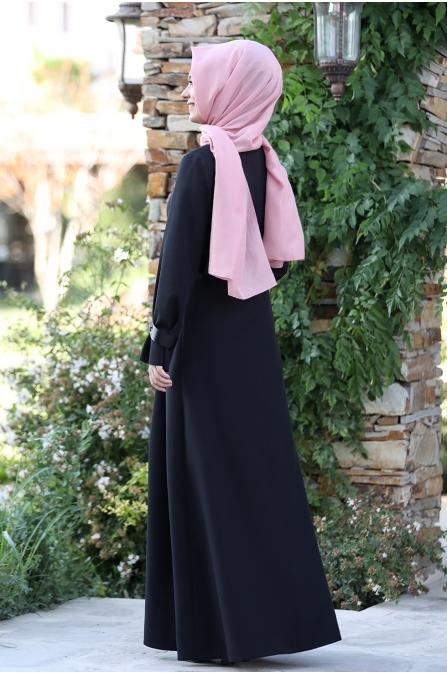 Naz Tesettür Elbise  - Siyah