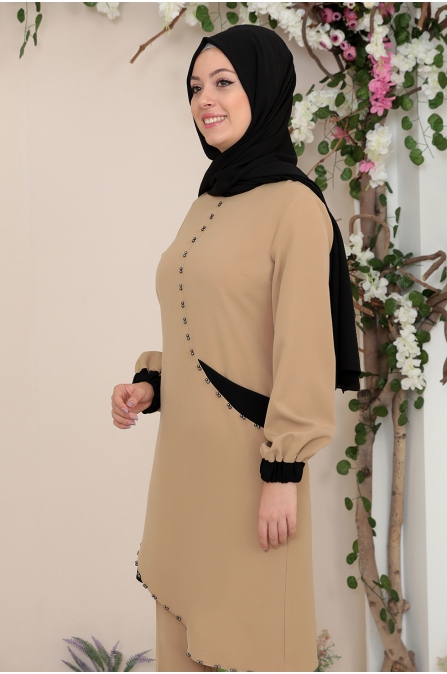 Alya Tunik Pantolon Tesettür Takım - Camel