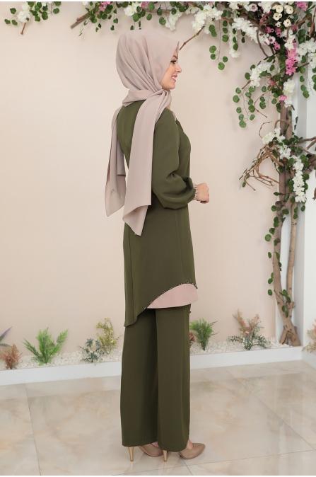 Alya Tunik Pantolon Tesettür Takım - Haki