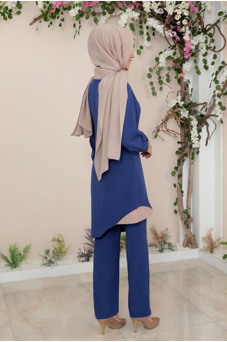 Alya Tunik Pantolon Tesettür Takım - İndigo
