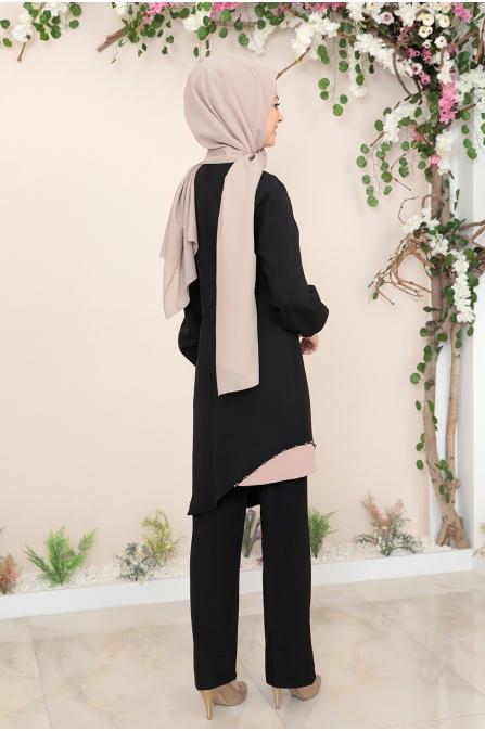 Alya Tunik Pantolon Tesettür Takım - Siyah
