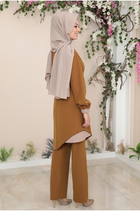 Alya Tunik Pantolon Tesettür Takım - Taba