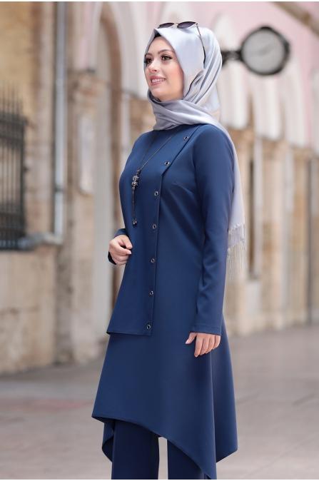Büşra Tunik Pantolon Tesettür Takım - İndigo